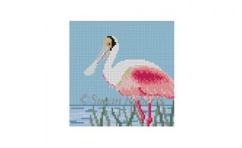 0514D~ Spoonbill, 4x4 18 Mesh Susan Roberts Needlepoint