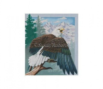 TTAP405b Perched Eagle w/o mountains Mesh Susan Roberts Needlepoint