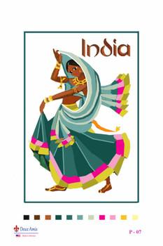 India Canvas Size 16 x 22 Design Area 12 x 16 Deux Amis