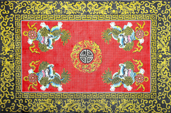 R1016 Lee's Needle Arts Rug, Asian Four Lions Hand-painted canvas - 12 Mesh 24X36