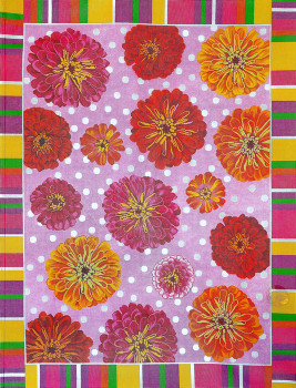 R1035 Lee's Needle Arts Rug, Floral, Zinnia Rug Hand-painted canvas - 12 Mesh 48X36