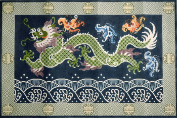 R1040 Lee's Needle Arts Rug, Asian Dragon/Butterfly Hand-painted canvas - 12 Mesh 48X32