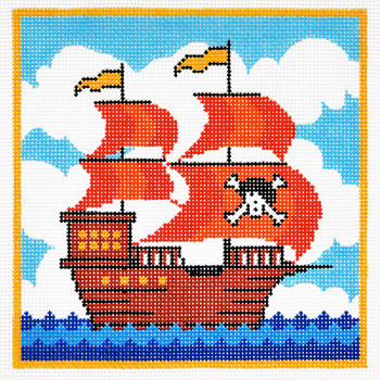 AO1269 Lee's Needle Arts Juvenile, Pirate Ship Hand-painted canvas - 13 Mesh 7in. X 7in.