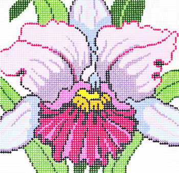 AO1235 Lee's Needle Arts Floral,  Orchid Hand-painted canvas - 12 Mesh 7in. X 7in.