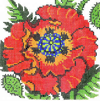 AO1236 Lee's Needle Arts Floral, Poppy Hand-painted canvas - 12 Mesh 7in. X 7in.