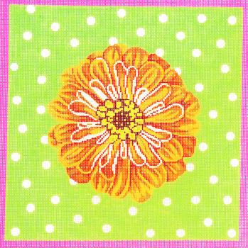P1174 Lee's Needle Arts Zinnia/Orange 13 Mesh 12X12