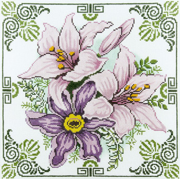 P1221 Lee's Needle Arts Floral,  Purple Lily Flowers 12 Mesh 14X14