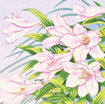 P1223 Lee's Needle Arts Floral, Pink Lilies 13 Mesh 14X14