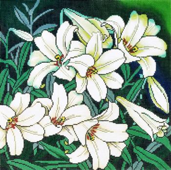 P1224 Lee's Needle Arts Floral, White Lilies 13 Mesh 14X14