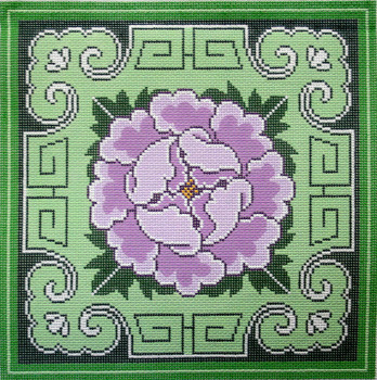 P1264 Lee's Needle Arts Carnation with Green Border  12 Mesh 12in x 12in 2012