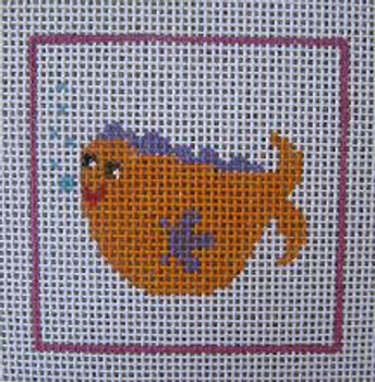C8 Orange Fish DeElda Needleworks Beginner Needlepoint kit