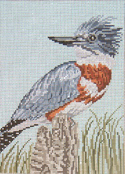 "#1642 Belted Kingfisher 18 Mesh 5"" x 7""  Needle Crossings"
