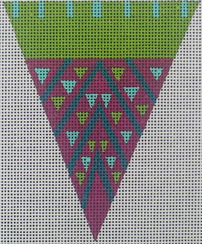"ZE437 Zecca Purple dot triangle w/ ribbon etc  3.5"" x 4.5"" 18 Mesh"