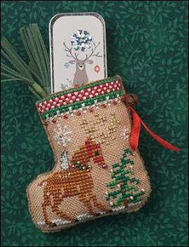 Christmas biscornu Nordic Reindeer christmas finished cross stitch pincushion Blue christmas accessories