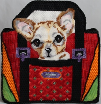 KL1009 Chihuahua puppy in red purse 13 Mesh KAMALA