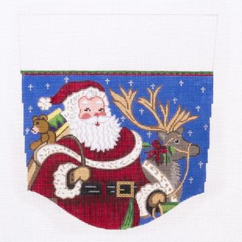SCF115 13 Mesh Alexa Designs Stocking Topper  cuff, Gifts, Night, presents, Reindeer, Santa, Sky, stars