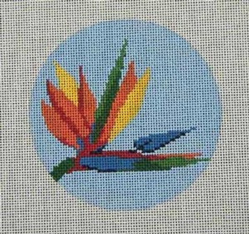 """CB-37 Bird of Paradise Ornament 4"""" Round 18 Mesh With Stitch Guide CHRISTINE SAUNDERS"""