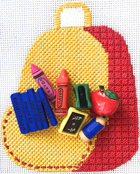 HB-250 Back to School Basket 3 1⁄2 x 4 1⁄4 18 Mesh Stitch Guide Included Hummingbird Designs Shown Finishes