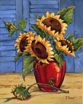 PB08039- Sunflower Vase 12x11, 18M Paul Brent The Collection Designs
