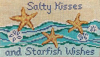 """#94 Starfish Wishes  18 Mesh  -  6"""" x 3-1/2""""  Needle Crossings"""