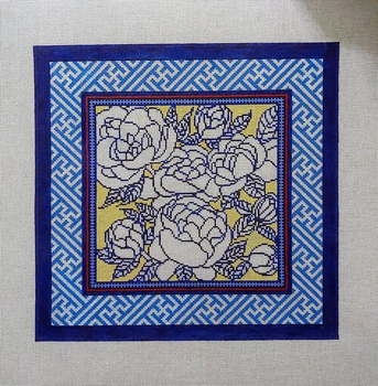 """AF74 Color Me Peony13.5""""W x 13""""H14 Mesh Anne Fisher Needlepoint, llc"""