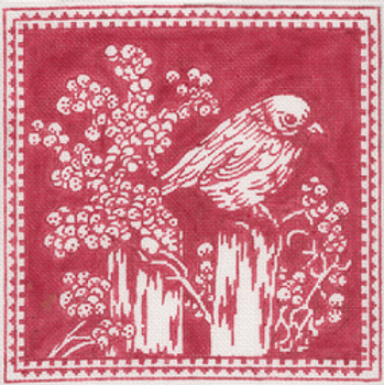 """A241Red Bird Toile8"""" x 8""""18 ct. Patty Paints"""