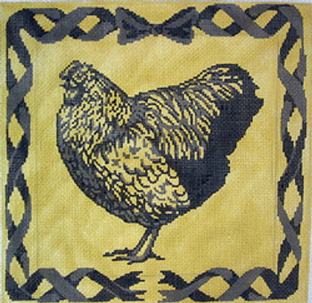 """A230Chicken Toile10"""" x 10""""14 ct.  Patty Paints"""