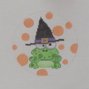 """APHA06 Frog in a Hat 18 mesh 4.5"""" round A Poore Girl Paints"""