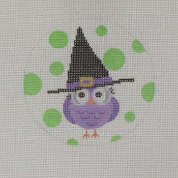 """APHA04 Owl in a Hat 18 mesh 4.5"""" round A Poore Girl Paints"""