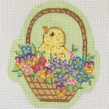ESO-13 Alexa Designs 18 Mesh Easter Shaped Ornament Chick In Basket