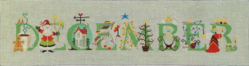 "VH3694 - December 21 5/16"" x 5 1/2"" 18 ct. Cross-Eyed Cricket Designs"