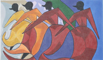 PDW411  ETHNIC GALLERY: African Dancers  15 x 9 18 Mesh PRINCE DUNCAN WILLIAMS