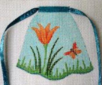 1620 Lily In Grass 5 x 5 13 Mesh Flower Apron Jane Nichols Needlepoint