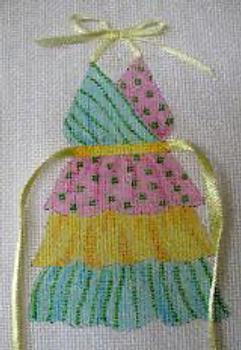 1645 Tiered Pastel 5 x 7 13 Mesh Bib Apron Jane Nichols Needlepoint