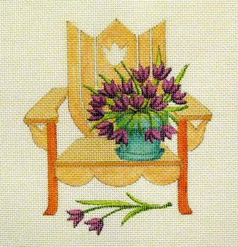 1705 May Flowers 7 x 7 18 Mesh Adirondack Jane Nichols Needlepoint