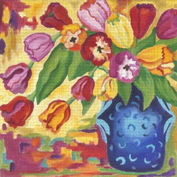 132851 Tapestry Tulips 14 x 14 18 Mesh JULIE THOMPSON
