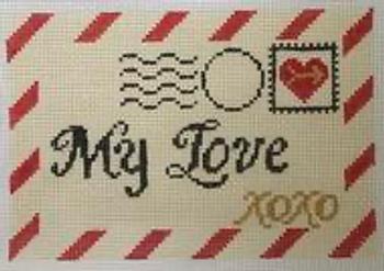 "RD 079 Mini Love Letter 18M 3.5""x5.5""  Rachel Donley Needlepoint Designs"