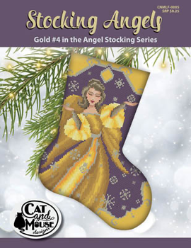 Stocking Angel 4 - Gold In The Angel 92w x 118h Cat And Mouse Designs 19-2385