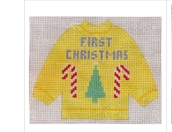 """1-68 First Christmas Pullover Sweater Ornament 4 1⁄4"""" x 5 1⁄4"""" #13 mesh STITCH-ITs"""