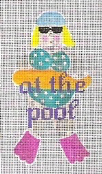 """11B At the Pool Sign - Swimmer 5"""" x 8"""" #13 mesh STITCH-ITs"""