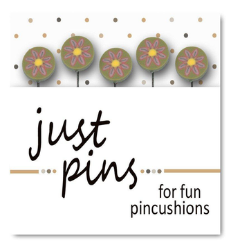 Just Pins - Just Pink Daisies on Green Just Another Button Company