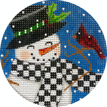 """APX416 Snowman and Cardinal 13 mesh 4"""" ROUND Alice Peterson Designs"""
