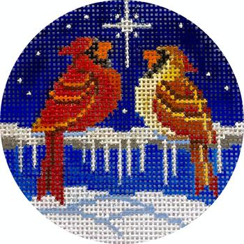 "APX426 Cardinals & North Star 13 mesh 4"" ROUND Alice Peterson Designs"