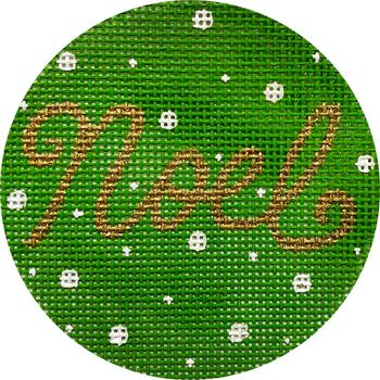 """APX408 Noel on Green 13 mesh 4"""" ROUND Alice Peterson Designs"""