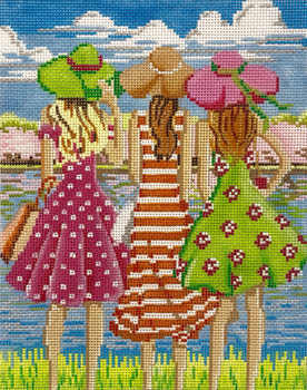 AP4149 Three Girls in Spring 13 mesh 8 X 10 Alice Peterson Designs