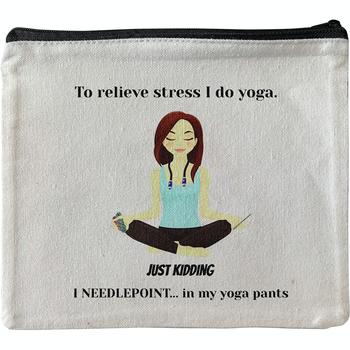 PO119 Yoga Needlepoint cotton canvas Pouch Alice Peterson