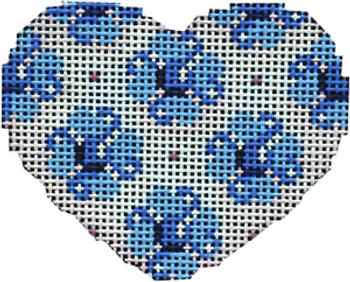 HE-676B Blue Flowers Mini Heart 2.75 x 2 18 Mesh Associated Talents