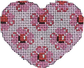 HE-676P Pink Flowers Mini Heart 2.75 x 2 18 Mesh Associated Talents