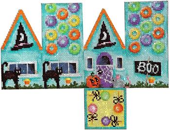HH-155 Halloween Cottage/Bats 8x6 18 Mesh Associated Talents