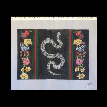 """BB48 Snake with Stripes and Flowers - Black Background 14.75"""" W by 10.5"""" H 13 mesh Bad Bitch Needlepoint"""